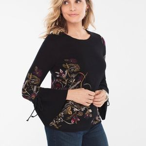 CHICOS BLACK FLORAL KNIT SWEATER 12 LARGE